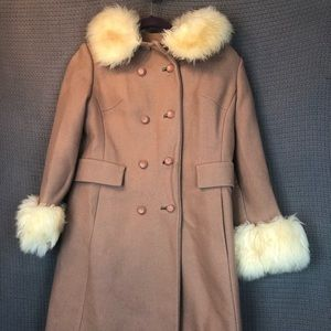 Vintage Coat with Faux Fur Collar & Cuffs